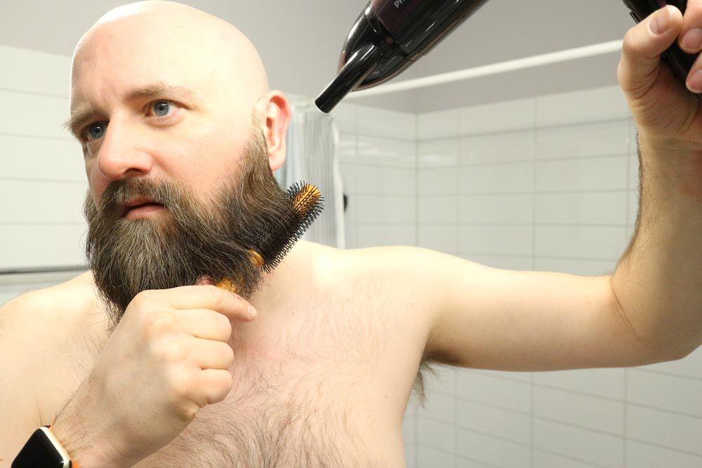 como usar secador de cabelo na barba